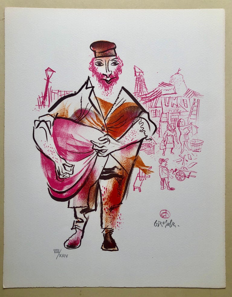 Hand signed in pencil and numbered with Roman numerals 8/24. A very small edition. Old Lower East Side of New York or East European Shtetl. Jewish Shtetl Peddler Merchant. humorous Yiddish art. The New-York born artist William Gropper was a painter