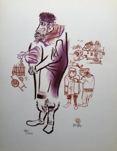 Jewish Shtetl Peddlar Americana Judaica Lithograph WPA Yiddish Social Realist