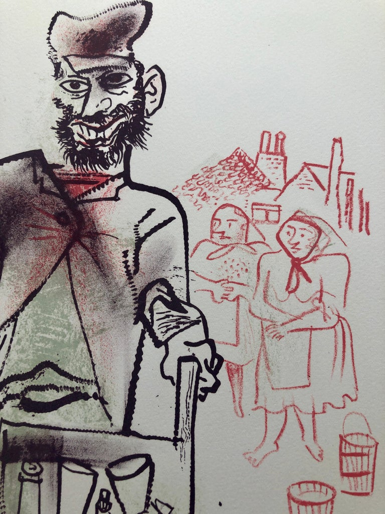 Jewish Shtetl Peddlar Pushcart Judaica Lithograph WPA Yiddish Social Realist  - Print by William Gropper