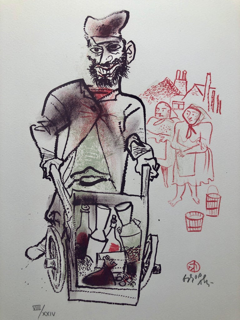 Jewish Shtetl Peddlar Pushcart Judaica Lithograph WPA Yiddish Social Realist  - Modern Print by William Gropper