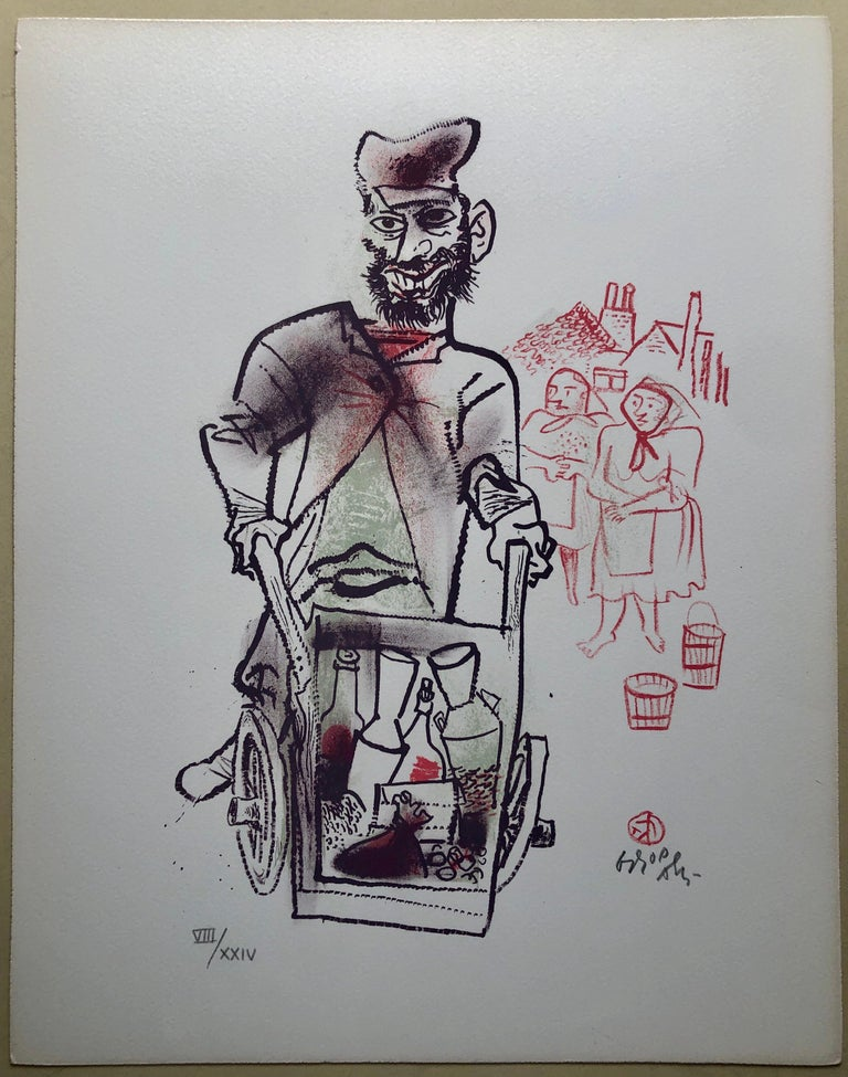 Jewish Shtetl Peddlar Pushcart Judaica Lithograph WPA Yiddish Social Realist  For Sale 1