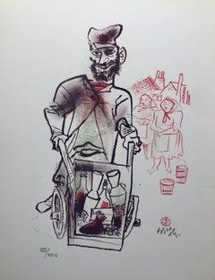 Jewish Shtetl Peddlar Pushcart Judaica Lithograph WPA Yiddish Social Realist