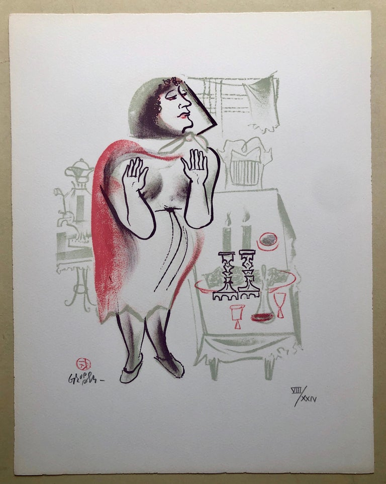 Hand signed in pencil and numbered with Roman numerals 8/24. A very small edition. Old Lower East Side of New York or East European Shtetl. A woman lighting the Sabbath Candlesticks. The New-York born artist William Gropper was a painter and