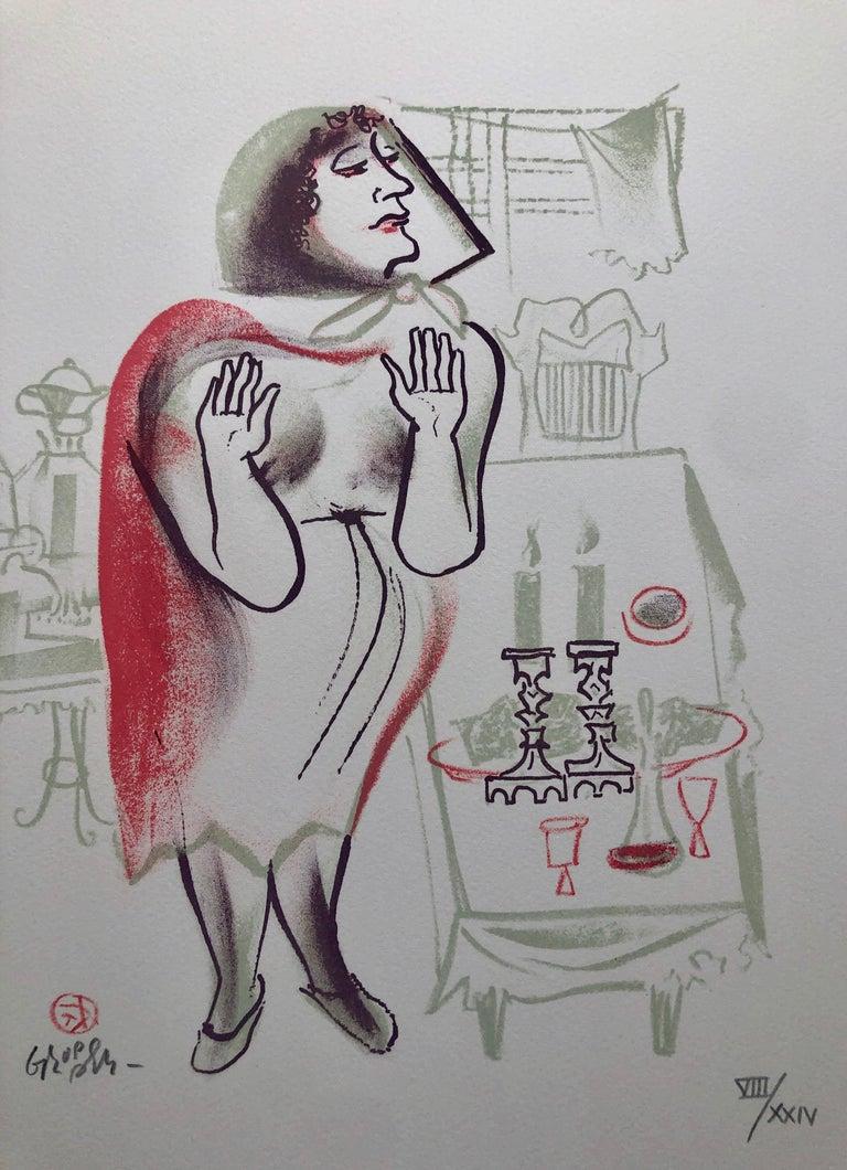 William Gropper Figurative Print - Lighting Shabbat Candles Shtetl Americana Judaica Lithograph WPA Social Realist