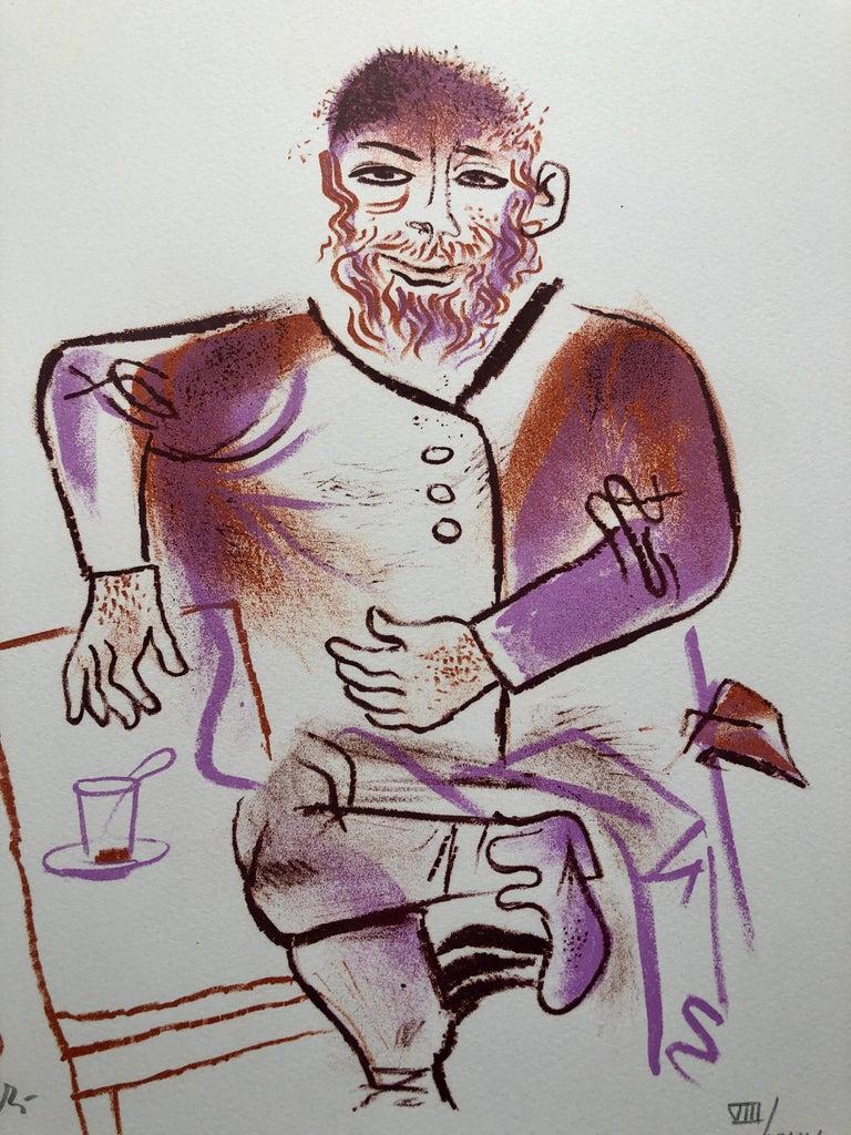 Rabbi, Cup of Tea, Shtetl Americana Judaica Lithograph WPA Social Realist Artist - Modern Print by William Gropper