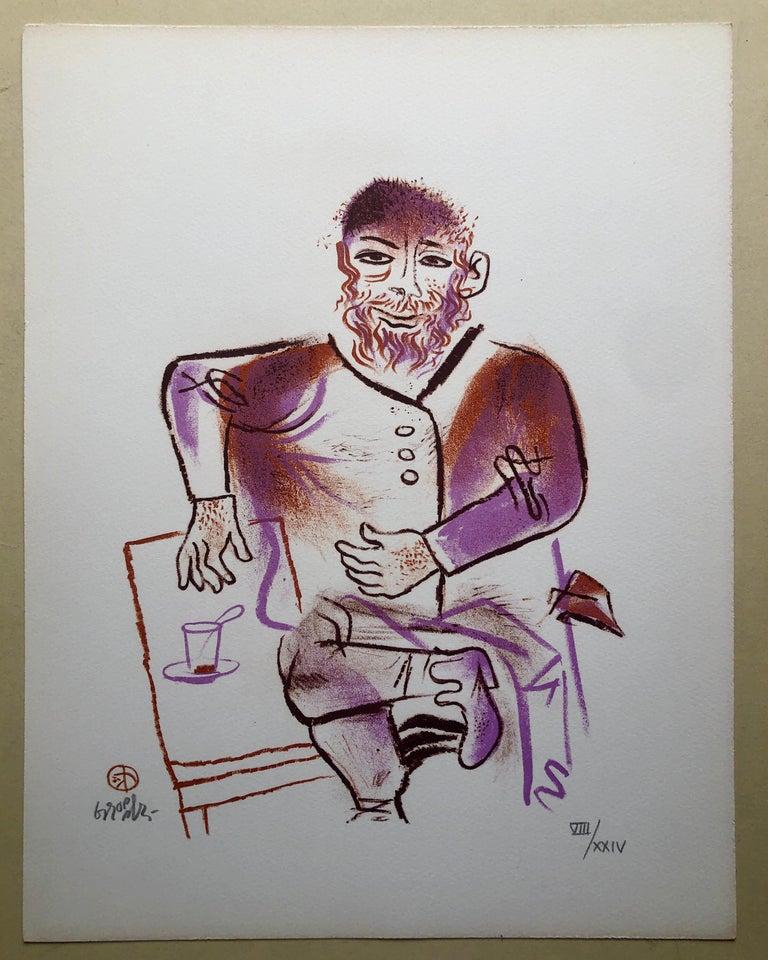 Rabbi, Cup of Tea, Shtetl Americana Judaica Lithograph WPA Social Realist Artist For Sale 1