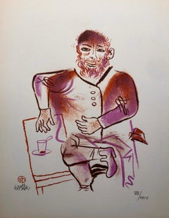 Rabbi, Cup of Tea, Shtetl Americana Judaica Lithograph WPA Social Realist Artist
