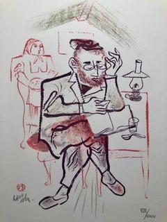 Rabbi Studying Shtetl Americana Judaica Lithograph WPA Social Realist Artist