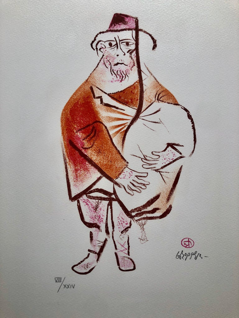 William Gropper Figurative Print - Sephardic Jew Fez Hat Jewish Shtetl Americana Judaica Lithograph WPA Yiddish Art