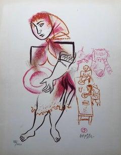 Women, Dishes, Shtetl Americana Judaica Lithograph WPA Social Realist Artist