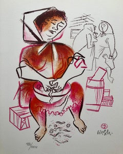 Yenta Woman, Kitchen, Jewish Shtetl Americana Judaica Lithograph WPA Yiddish Art