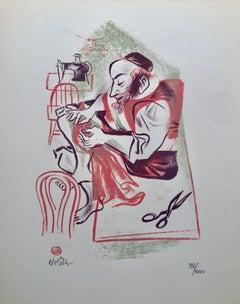 Yiddish Jewish Tailor Shtetl Americana Judaica Lithograph WPA Social Realist Art
