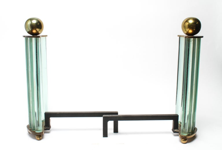 American William H. Jackson Company Modernist Brass and Glass Andirons For Sale