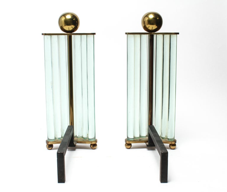William H. Jackson Company Modernist Brass and Glass Andirons In Good Condition For Sale In New York, NY