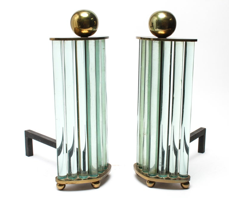 20th Century William H. Jackson Company Modernist Brass and Glass Andirons For Sale