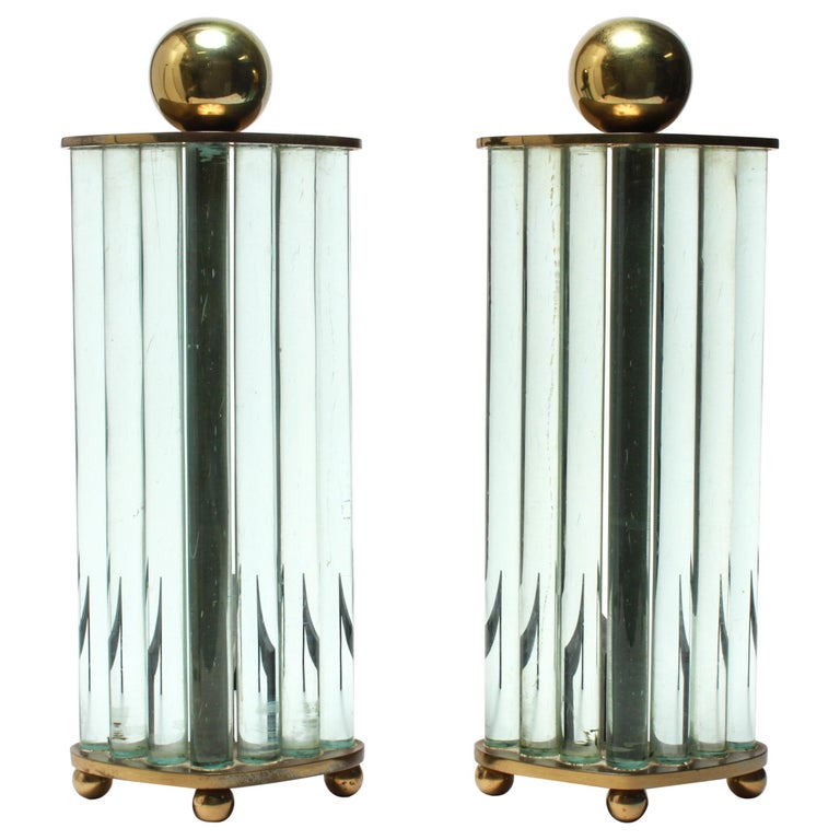 William H. Jackson Company Modernist Brass and Glass Andirons For Sale