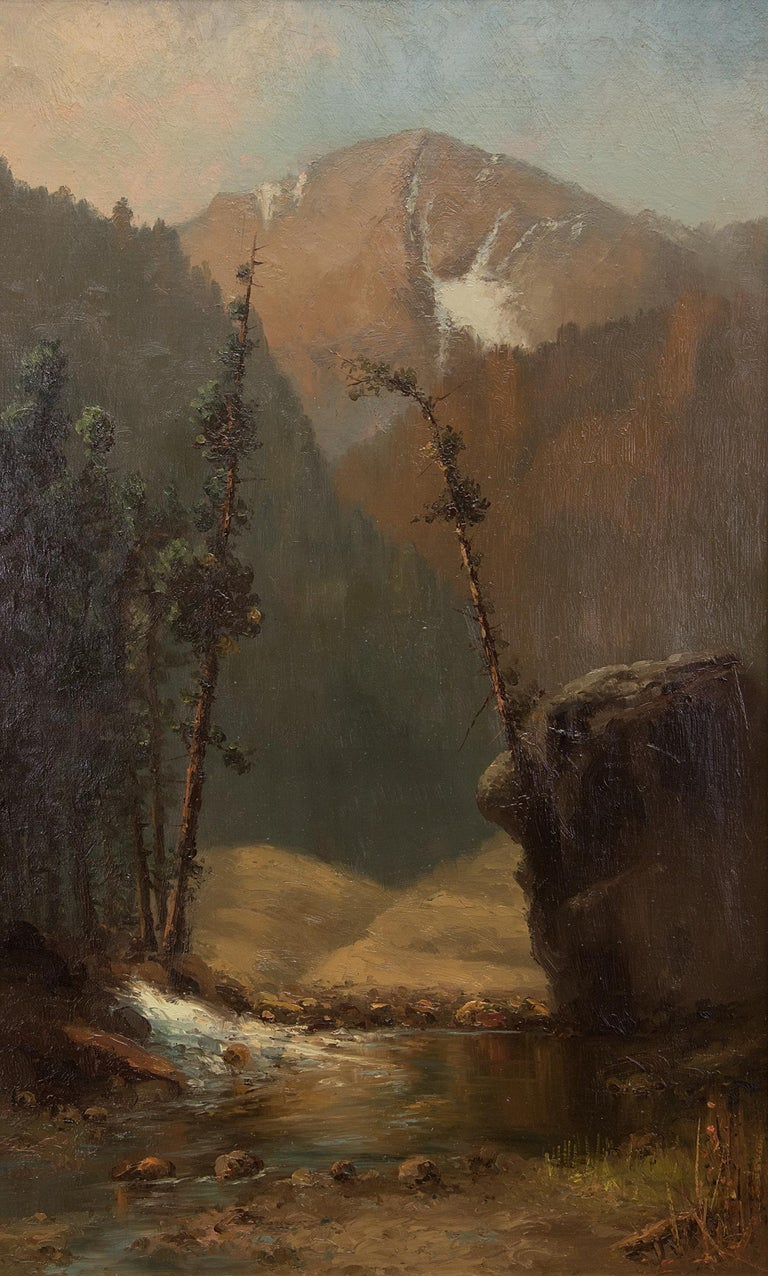 Untitled (Colorado Mountain Landscape with Stream, Hudson River Style Painting) - Brown Landscape Painting by William H. M. (Coxe) Cox