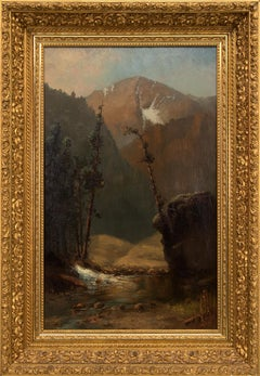 Untitled (Colorado Mountain Landscape with Stream, Hudson River Style Painting)