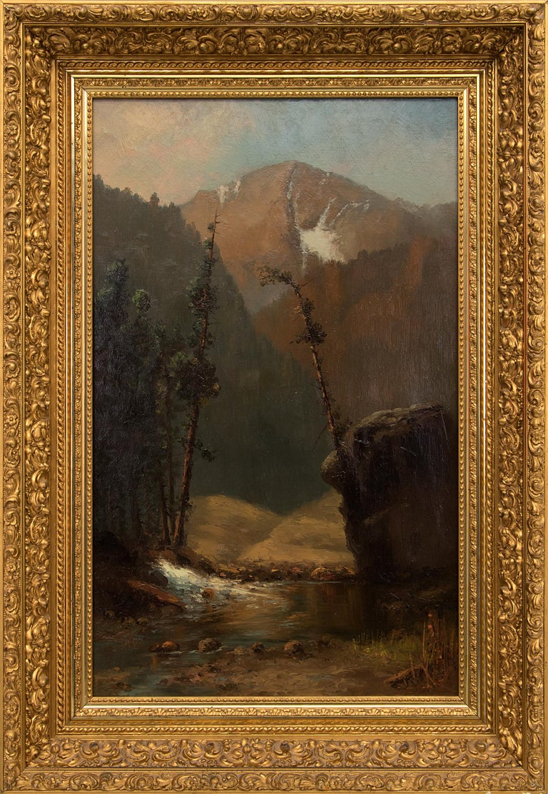William H. M. (Coxe) Cox Landscape Painting - Untitled (Colorado Mountain Landscape with Stream, Hudson River Style Painting)