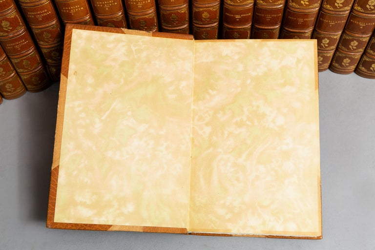 """22 volumes.   William H. Prescott, (1796-1859). Works. """"Aztec Edition"""" Limited to 250 copies, this is #93  Titles included: Conquest of Mexico, Ferdinand and Isabella, Charles The Fifth, Phillip The Second etc.  Bound in 3/4 tan Morocco, cloth"""
