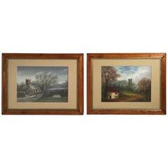 William H. Vernon Set of Gouache Watercolor Landscape Paintings Winter & Autumn
