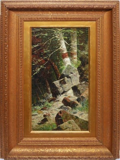 Antique Hudson River School Forest Interior Oil Painting by William Weisman