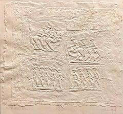 Bill Haendel Americana 'A Child's War' Cast Paper Relief Sculpture