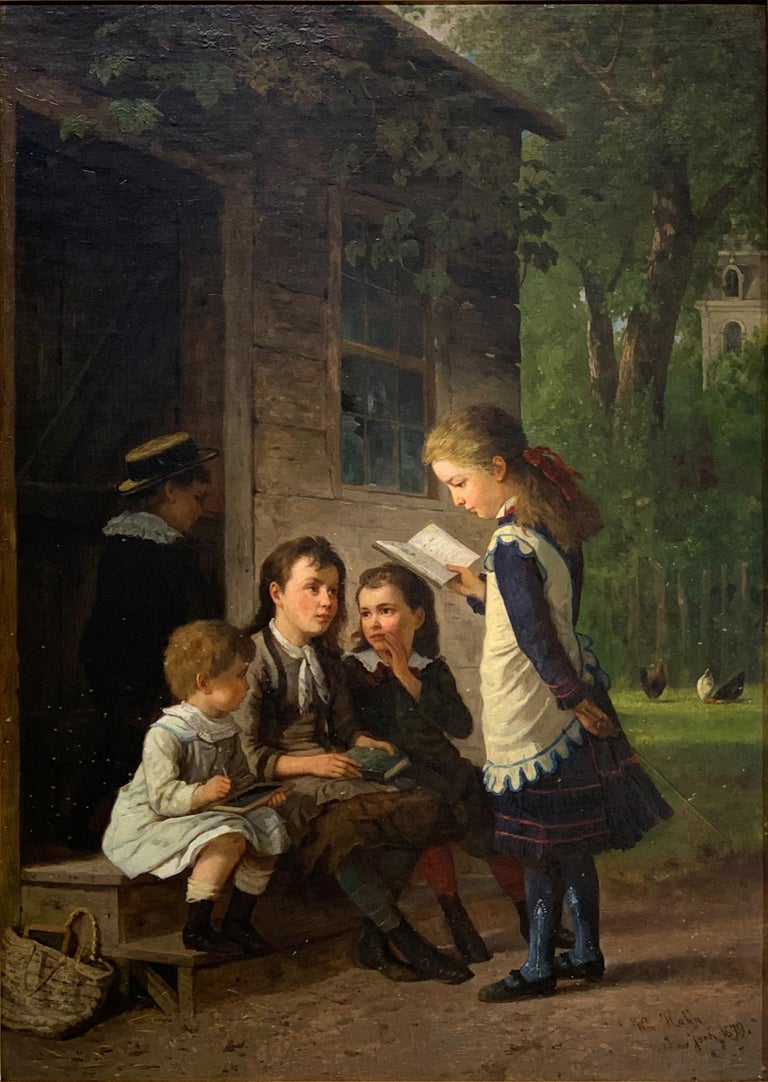 Children Learning Outside A 19th Century School House For Sale 1
