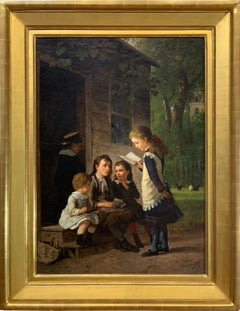 Children Learning Outside A 19th Century School House