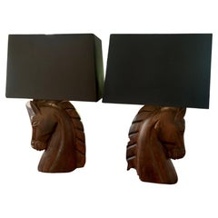 William Haines Carved Horse Lamps with Shades