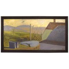 William Hansen, Danish Painter, Oil on Canvas. Hilly Landscape, 1957