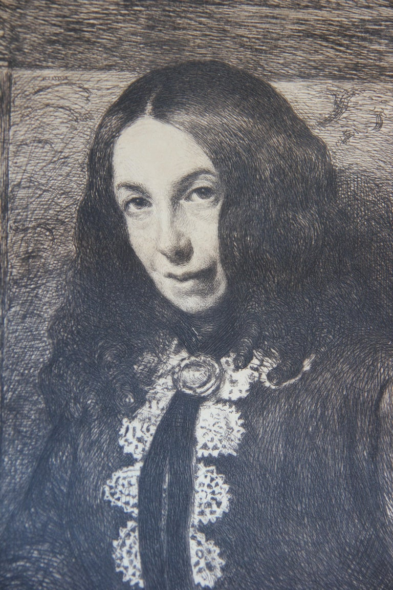 Portrait of a Women in Turn of the Century Attire Etching  - Print by William Harry Warren Bicknell