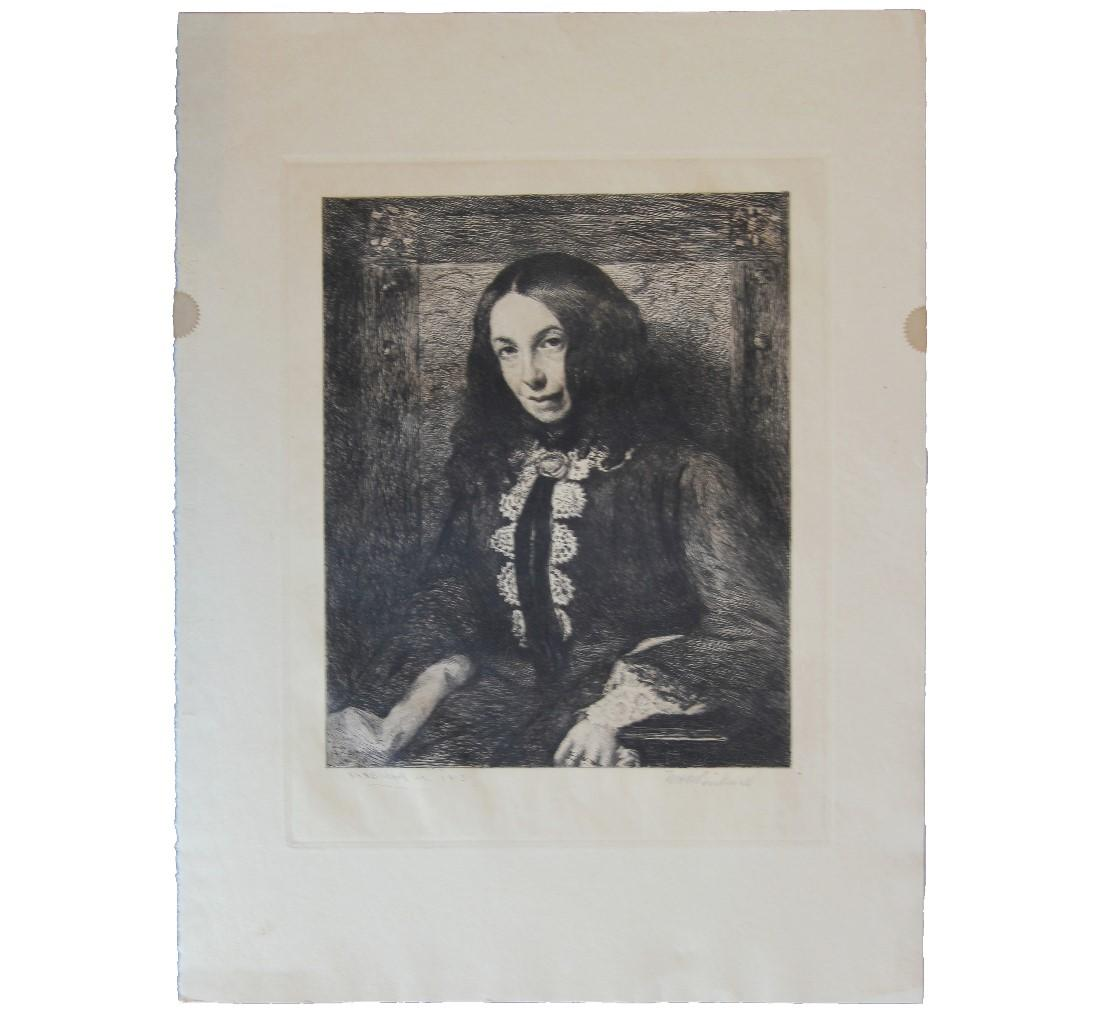 Portrait of a Women in Turn of the Century Attire Etching