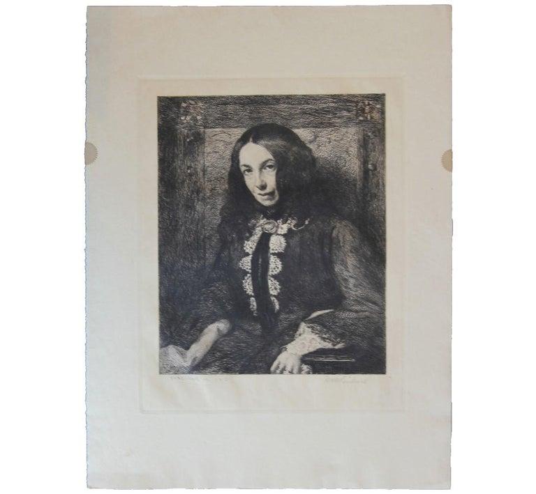 William Harry Warren Bicknell Portrait Print - Portrait of a Women in Turn of the Century Attire Etching