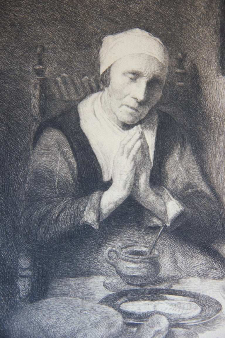 Portrait of an Elderly Woman Praying at a Table Etching - Print by William Harry Warren Bicknell