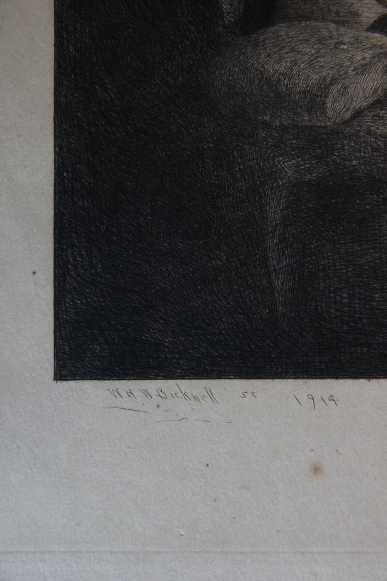 Portrait of a woman praying at a table with food. In the corner a cat reaching up to see over the table. The etching is signed by the artist in the bottom in pencil. The etching is not framed.  Artist Biography: William Bicknell was born in