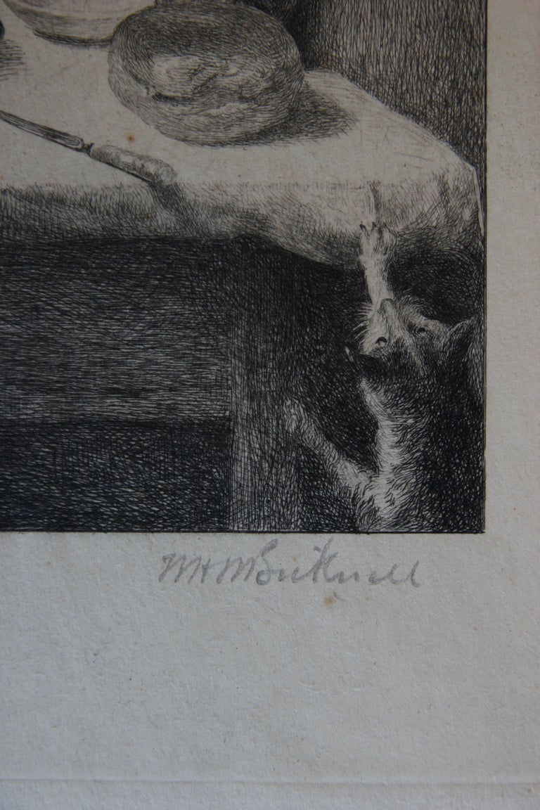 Portrait of an Elderly Woman Praying at a Table Etching For Sale 1