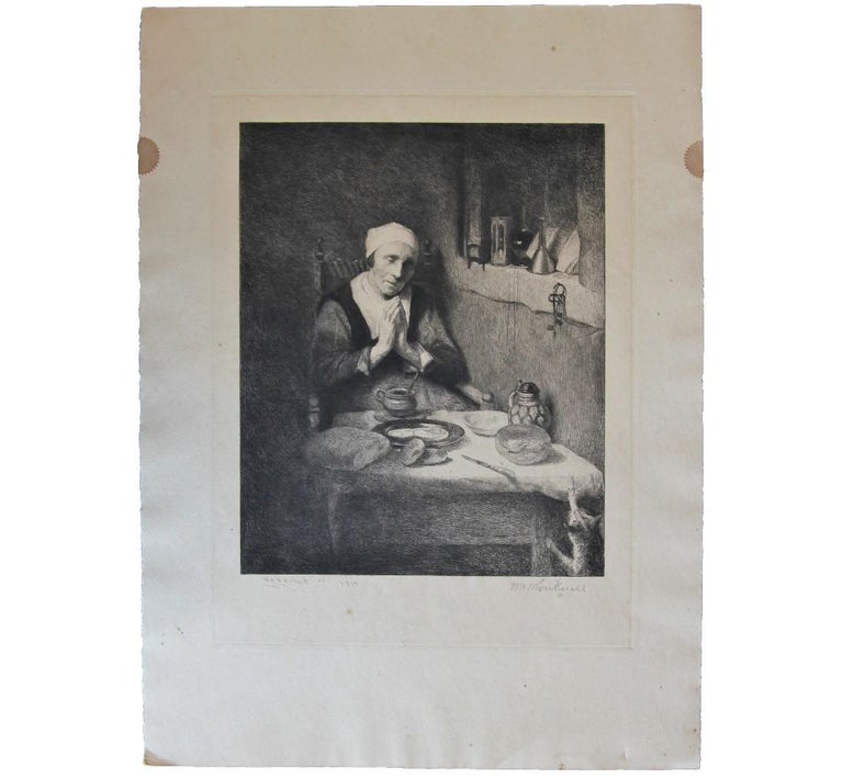 William Harry Warren Bicknell Portrait Print - Portrait of an Elderly Woman Praying at a Table Etching
