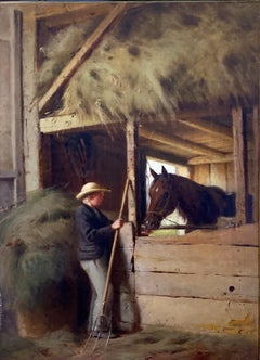 """Interior of a Stable"" William Hart, Hudson River School Antique, Boy and Horse"