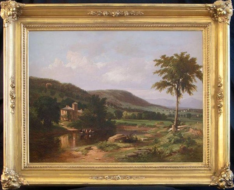 Summer Idyll in the Hudson Valley, 1849 landscape by William Hart (1823‒1894) For Sale 1