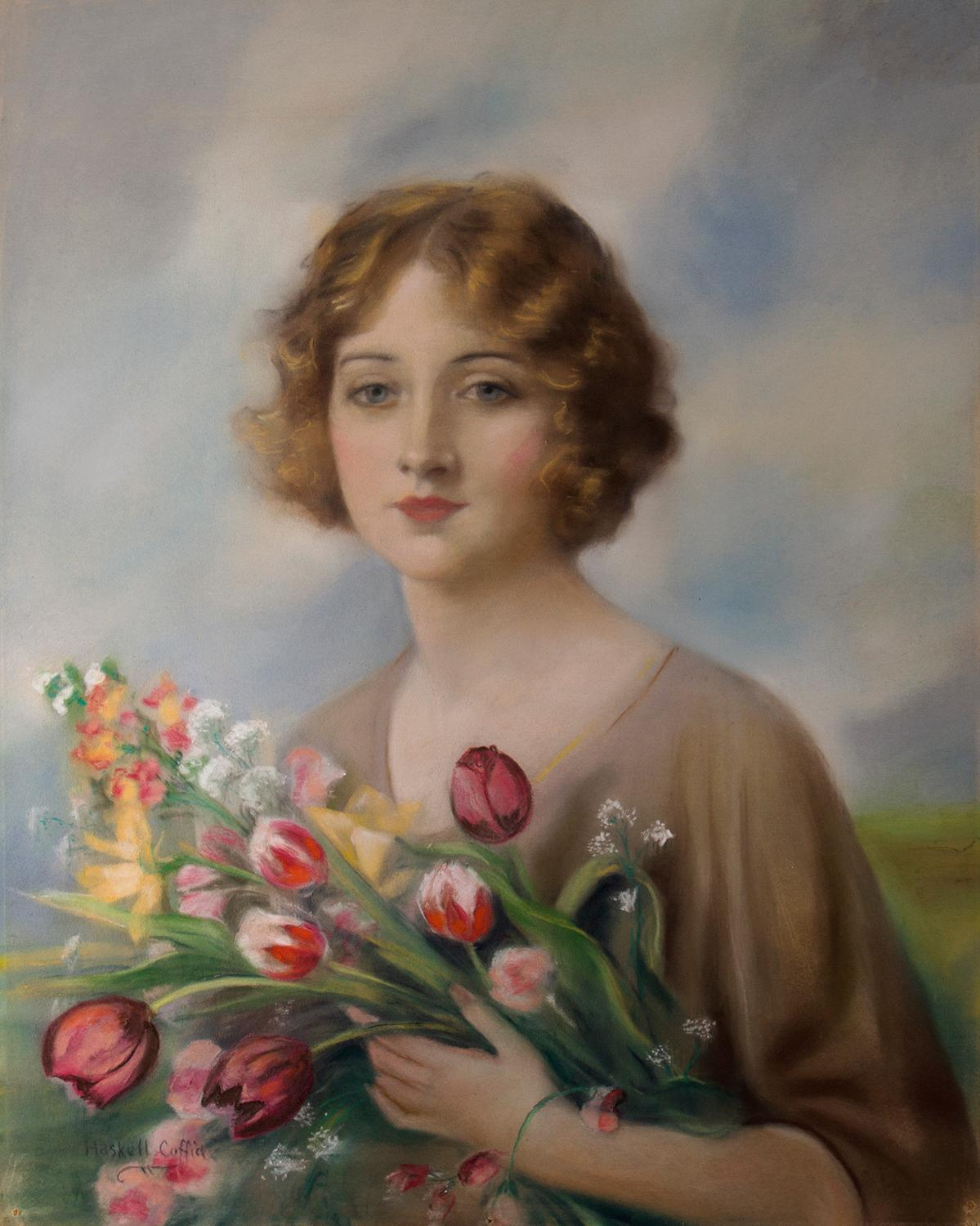 A Red Book Cover Girl With Flowers