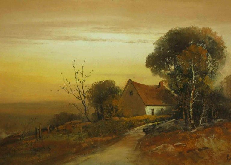 American Classical William Henry Chandler Pastel, Cottage in an Autumn Landscape For Sale