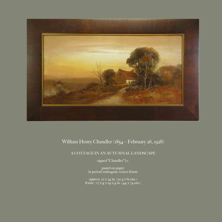 Other William Henry Chandler Pastel, Cottage in an Autumn Landscape For Sale