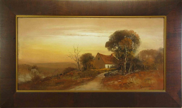 William Henry Chandler Pastel, Cottage in an Autumn Landscape In Good Condition For Sale In Ottawa, Ontario