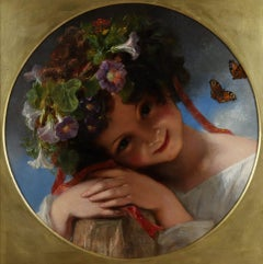 A Young Girl Wearing a Garland of Flowers