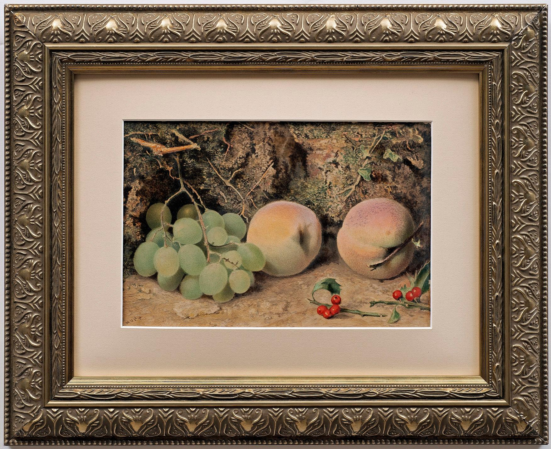"""""""Still Life of Apples, Grapes and Ivy"""" William Henry Hunt (English, 1790-1864)"""