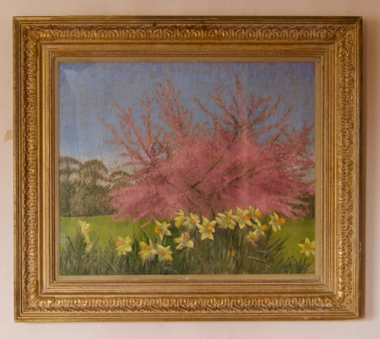 Apple Blossom Tree and Dandelions - Mid 20th Century Impressionist Landscape Oil - Painting by William Henry Innes