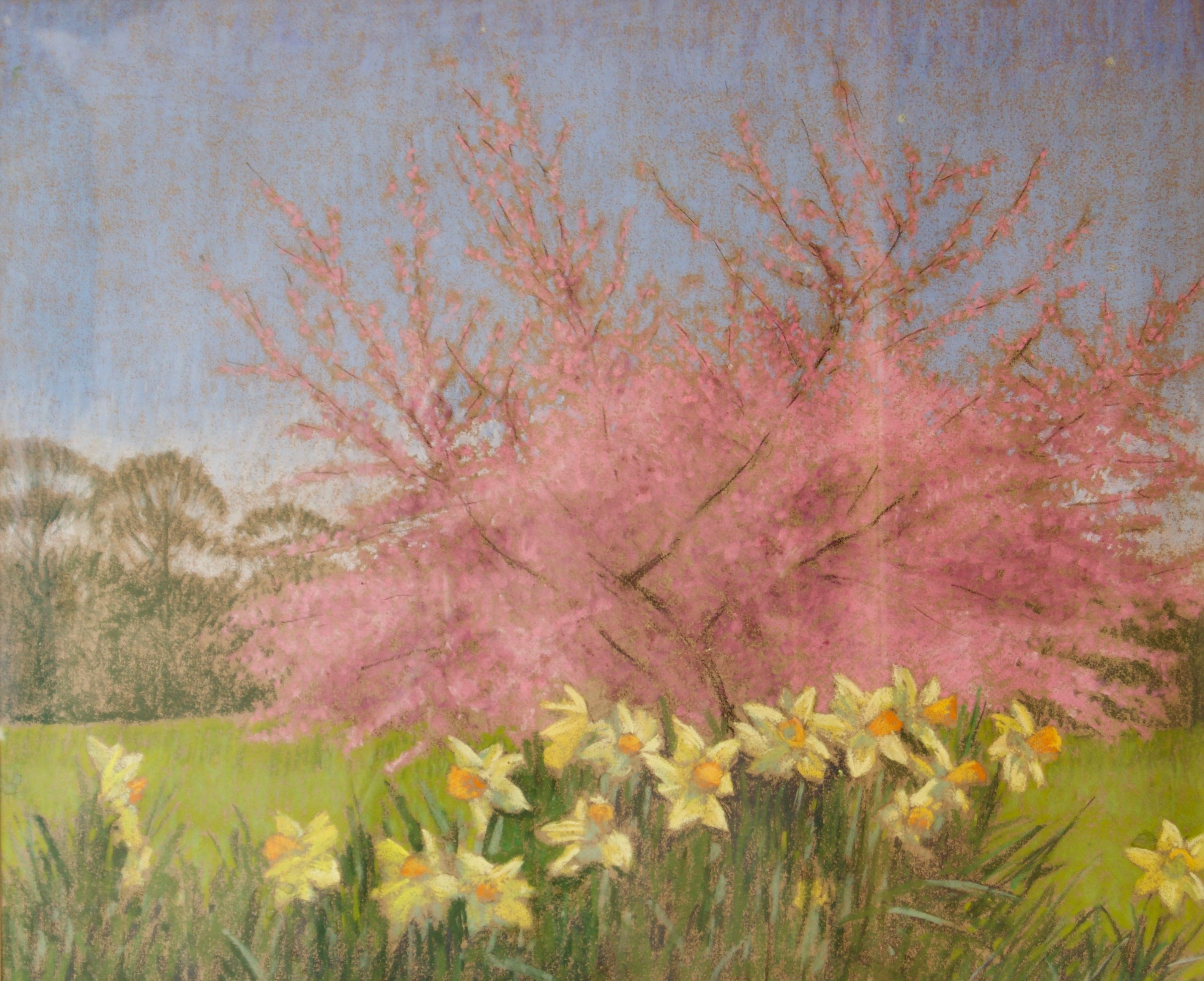 Apple Blossom Tree and Dandelions - Mid 20th Century Impressionist Landscape Oil