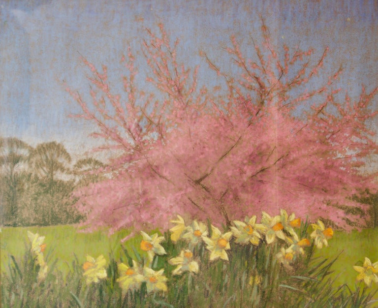 William Henry Innes Landscape Painting - Apple Blossom Tree and Dandelions - Mid 20th Century Impressionist Landscape Oil