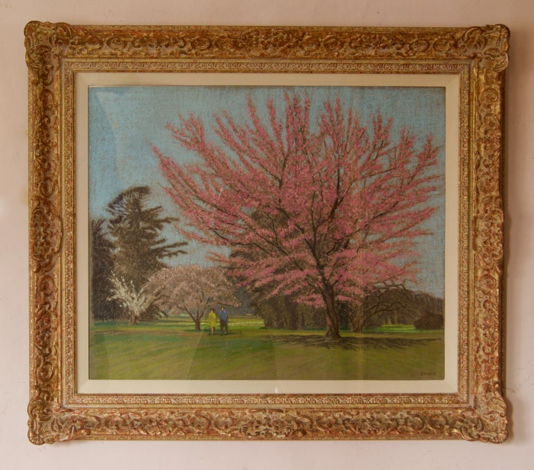 Apple Blossom Tree Park - Mid 20th Century Impressionist Landscape Oil by Innes - Painting by William Henry Innes